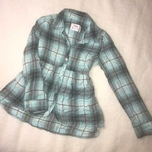 Justice LS Plaid Button up shirt